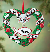 Gifts for the Pet Lover - Personalized Pet Wreath Ornament
