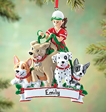 New Baby Gifts - Personalized Dog Walker Ornament