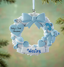 Occasion & Themed Ornaments - Personalized Baby's First Christmas Wreath Ornament