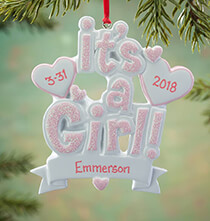 New Baby Gifts - Personalized It's a Girl Ornament