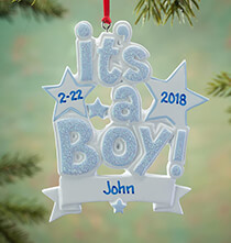 Gifts for Kids - Personalized It's a Boy Ornament