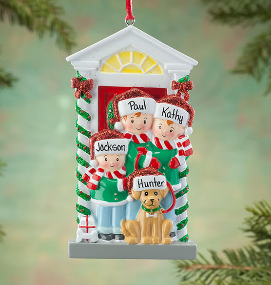 Personalized Family and Dog Ornament - View 1