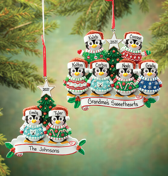 Personalized Penguins in Ugly Sweaters Ornament