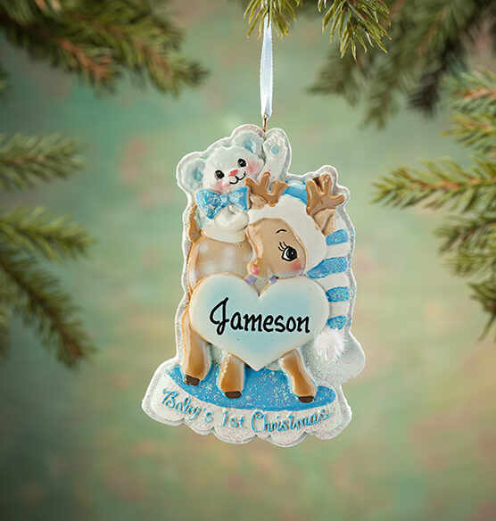 Personalized Baby's First Christmas Deer Ornament - View 1