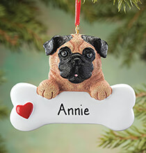 Gifts for Kids - Personalized Pug Ornament