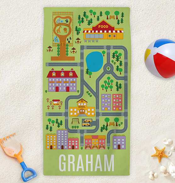 Personalized Neighborhood Road Map Kid's Beach Towel