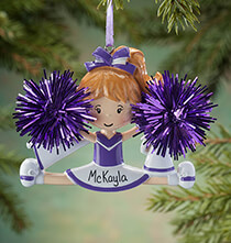 Personalized Cheer Ornament   No Personalization Green