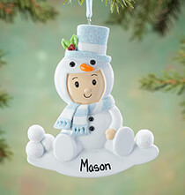 New Baby Gifts - Personalized Snowsuit Baby Ornament
