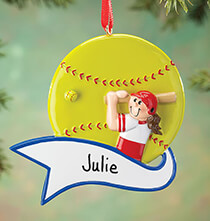 Misc. Sports - Personalized Softball Ornament