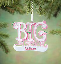 New Baby Gifts - Personalized Big Sister Ornament