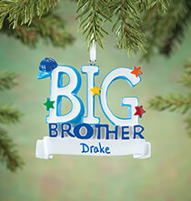 New Baby Gifts - Personalized Big Brother Ornament
