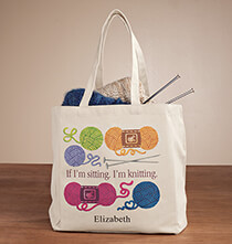 Totes & Bags - Personalized If I'm Sitting, I'm Knitting Tote