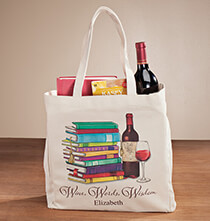 Totes & Bags - Personalized Wine, Words, Wisdom Book Club Tote