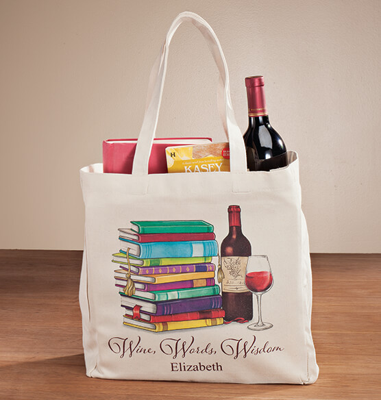 Personalized Wine, Words, Wisdom Book Club Tote - View 1