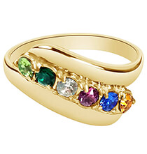 Top Gifts for Her - Birthstone Crystal Gold-Plated Mother's Ring