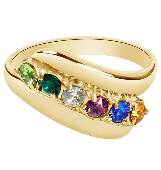 Birthstone Crystal Gold-Plated Bypass Ring