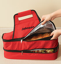 Gifts for the Foodie - Personalized Double Decker Insulated Food Travel Tote
