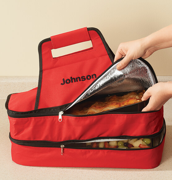 Personalized Double Decker Insulated Food Travel Tote