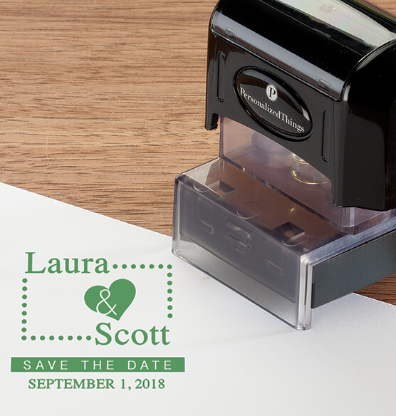 Personalized Heart Save the Date Stamper