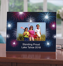 Personalized Fanciful Fireworks Textured Photo Frame