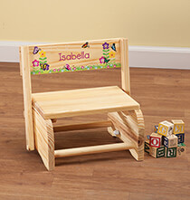 Room Décor - Personalized Children's Butterflies & Flowers Step Stool