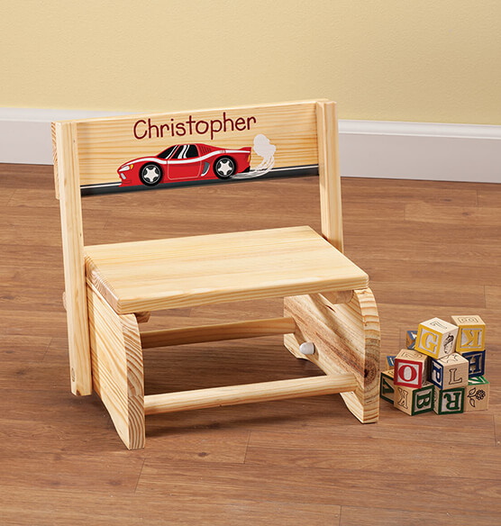 Personalized Children's Racecar Step Stool