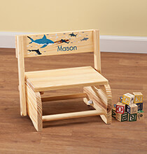 Room Décor - Personalized Children's Sharks Step Stool