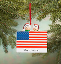 Gifts for Veteran's Day - Personalized Patriotic Family Ornament