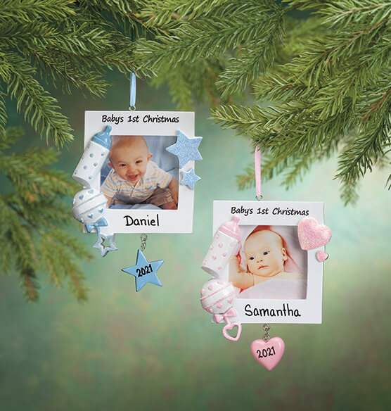 Personalized Baby's First Christmas Frame Ornament - View 1
