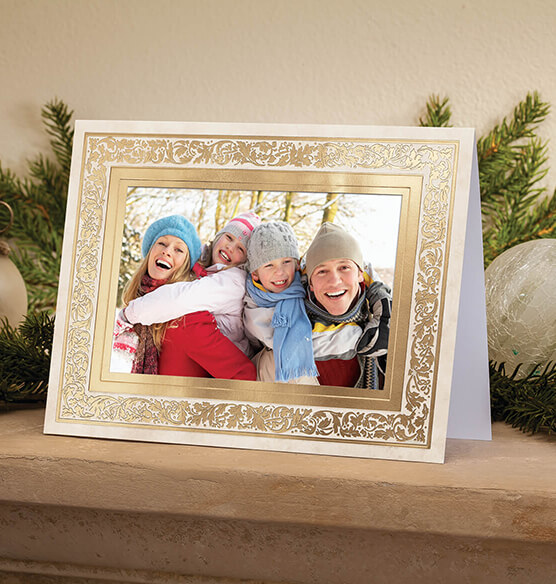 Regal Borders Ivory Photo Christmas Card, Set of 18