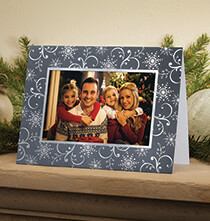 Holiday Cards - Silver Snowflake Photo Christmas Card, Set of 18
