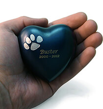 Memorial & Remembrance - Personalized Brass Paw Print Heart Keepsake