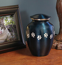 Pets - Personalized Blue Brass Paw Print Pet Urn