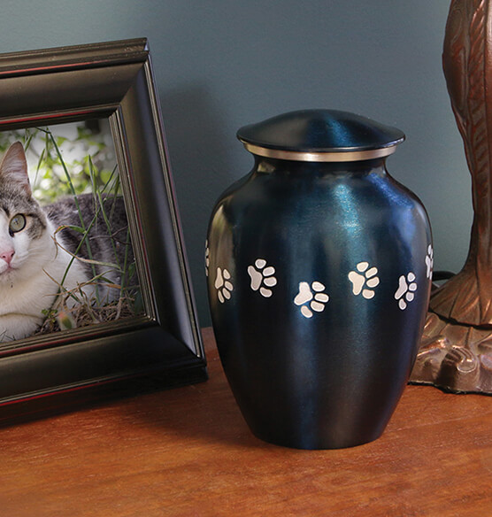 Personalized Blue Brass Paw Print Pet Urn