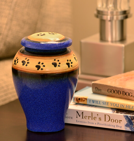 Personalized Blue Ceramic Paw Print Pet Urn