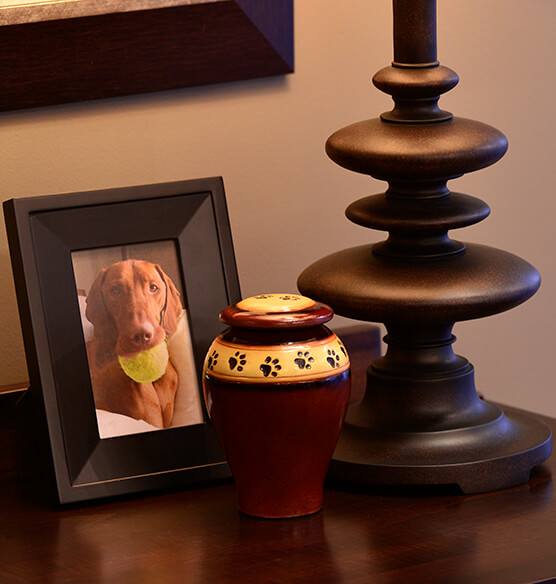 Personalized Red Ceramic Paw Print Pet Urn - View 1