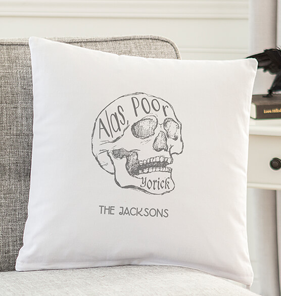 "Personalized ""Alas Poor Yorick"" Throw Pillow"