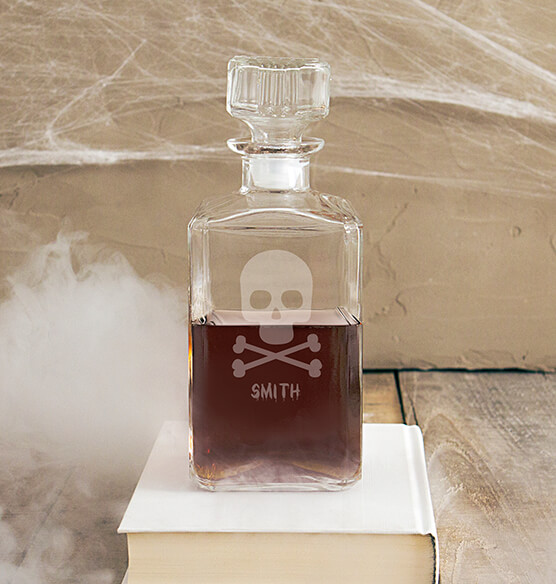 Personalized Skull & Crossbones Glass Decanter, 34 oz.