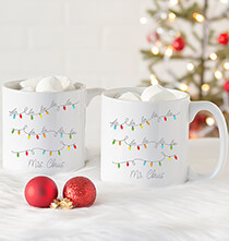 Gifts for the Hostess - Personalized Fa La La Large Coffee Mugs Set of 2, 20 oz.