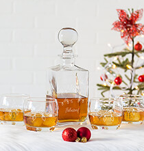 Gifts for the Hostess - Personalized Fa La La Square Decanter Set