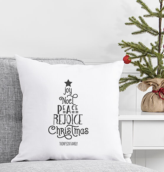 Personalized Christmas Tree Throw Pillow 16""