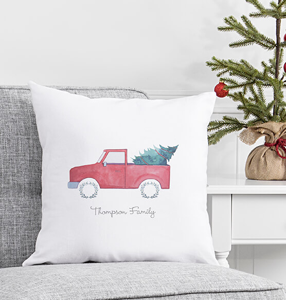 Personalized Christmas Tree Truck Throw Pillow 16""