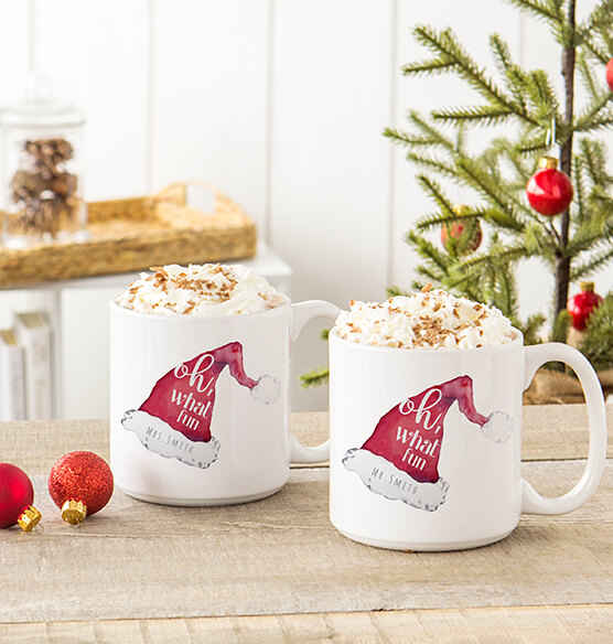 Personalized Oh What Fun Santa Hat Large Coffee Mugs 20 oz.