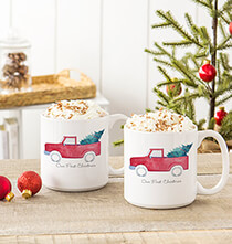 Gifts for the Hostess - Personalized Christmas Tree Truck Large Coffee Mugs 20 oz.