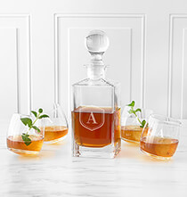 Beer, Wine & Bar Glasses - Personalized Tipsy Whiskey Decanter Set