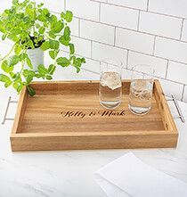 Gifts for the Hostess - Personalized Acacia Tray with Metal Handles