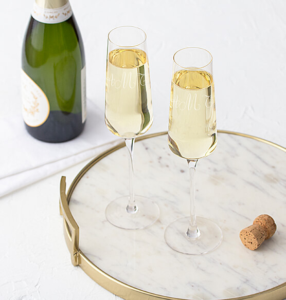 Personalized Champagne Estate Glasses Set of 2, 9.5 oz.