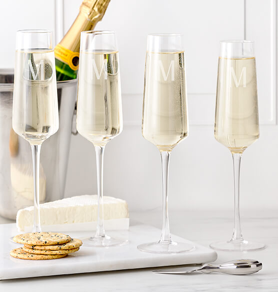 Personalized Champagne Estate Glasses Set of 4, 9.5 oz.