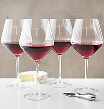 Beer, Wine & Bar Glasses - Personalized Red Wine Estate Glasses Set of 4, 23 oz.