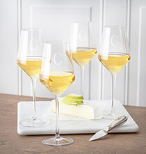 Gifts for the Hostess - Personalized White Wine Estate Glasses Set of 4, 14 oz.